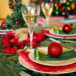 Holiday dining table with champagne